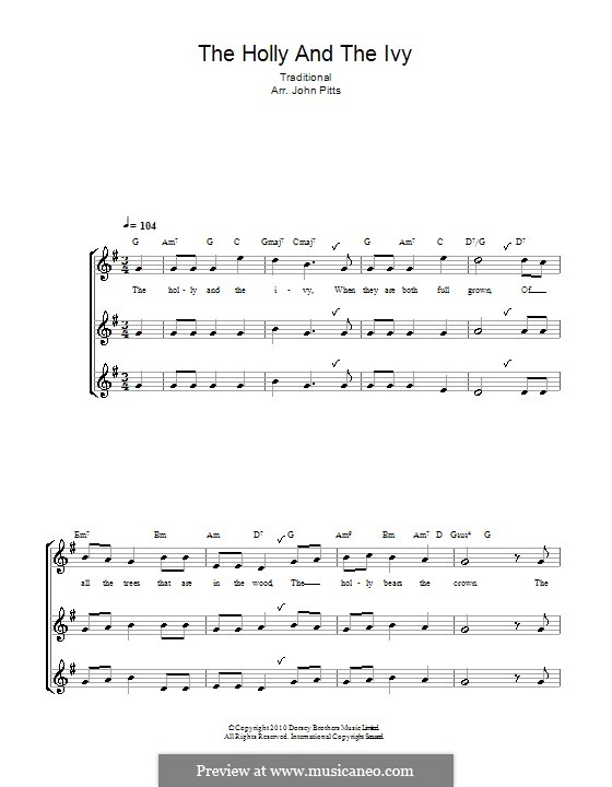 The Holly and the Ivy: For recorder by folklore