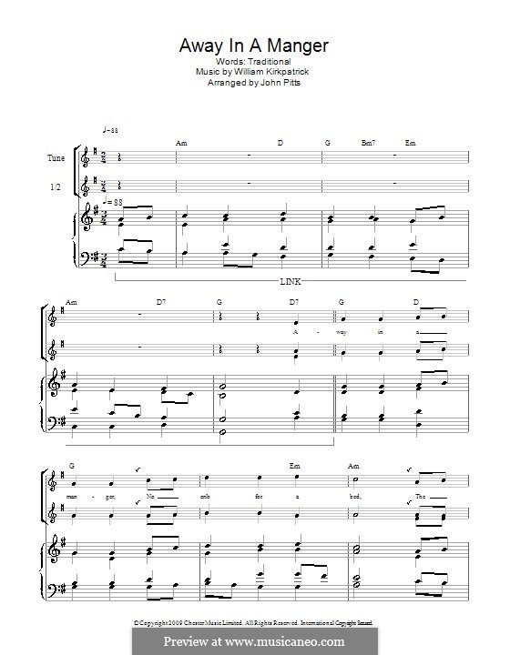 Away in a Manger: For recorder by William (James) Kirkpatrick