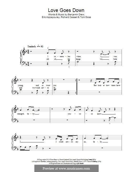 Love Goes Down (Plan B): For easy piano by Benjamin Drew, Eric Appapoulay, Richard Cassell, Tom Goss