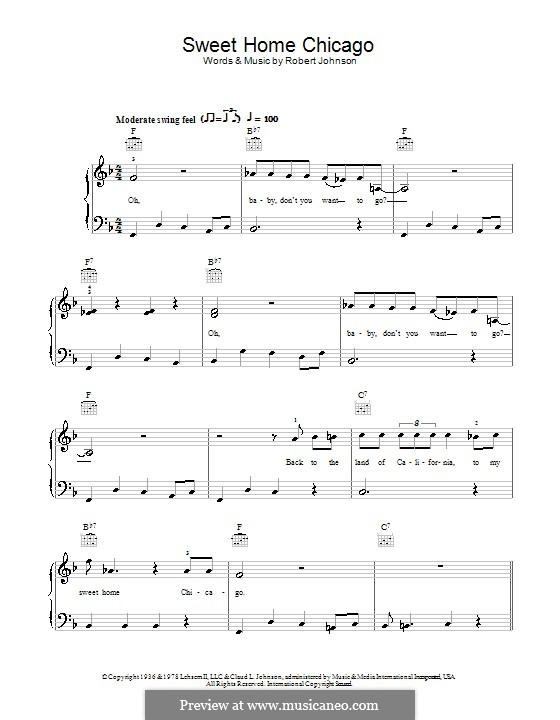 Sweet Home Chicago (Eric Clapton): For easy piano by Robert Leroy Johnson