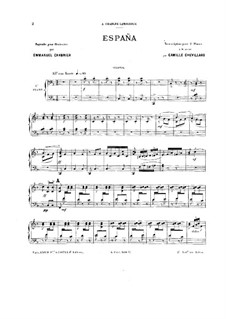 España: For two pianos eight hands by Emmanuel Chabrier
