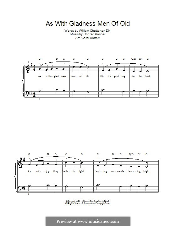 As with Gladness Men of Old: For voice and piano by Conrad Kocher