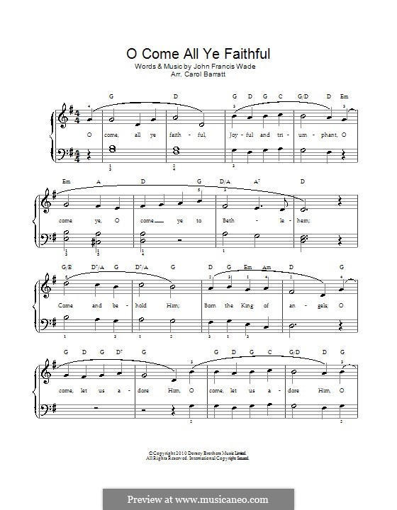 O Come, All Ye Faithful (Printable Scores): For voice and piano by John Francis Wade