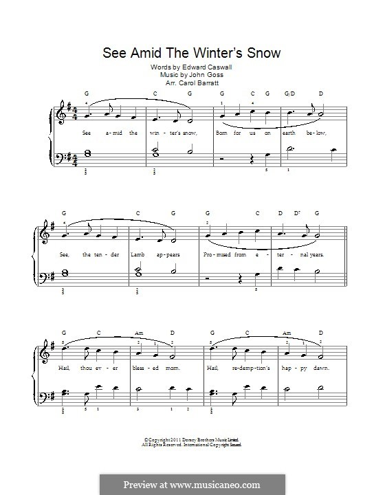 See Amid the Winter's Snow: For voice and piano by John Goss