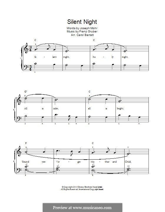 Piano-vocal score: For voice and piano by Franz Xaver Gruber