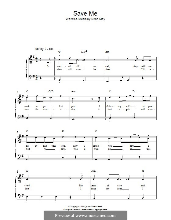 Save Me (Queen): For easy piano by Brian May