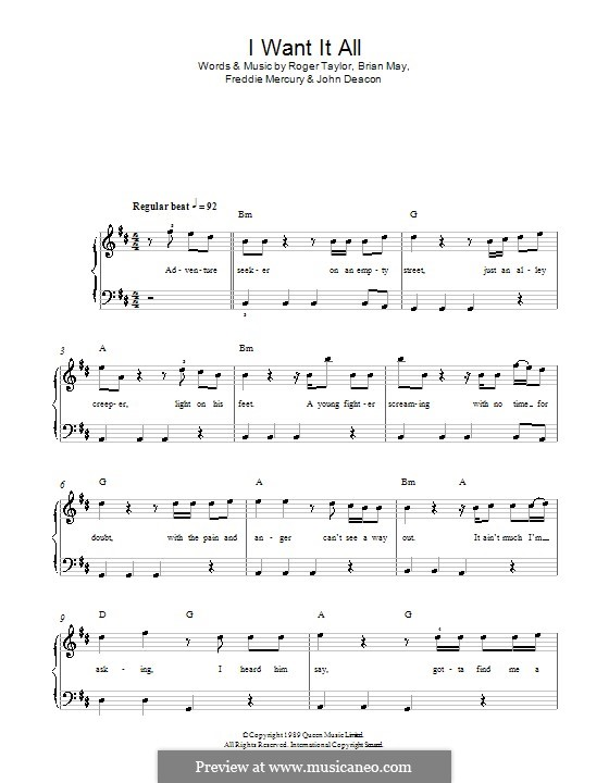 I Want it All (Queen): For easy piano by Brian May, Freddie Mercury, John Deacon, Roger Taylor