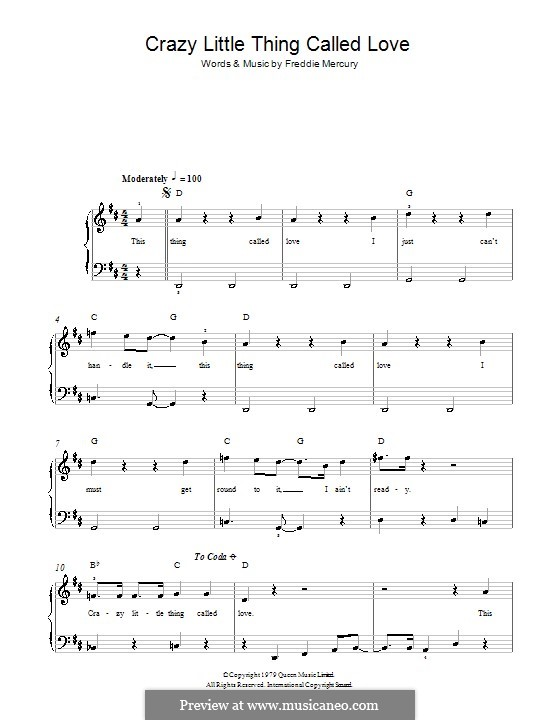 Crazy Little Thing Called Love (Queen): For easy piano by Freddie Mercury