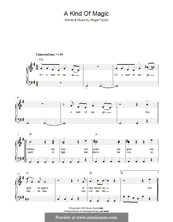 A Kind of Magic (Queen): For easy piano by Roger Taylor