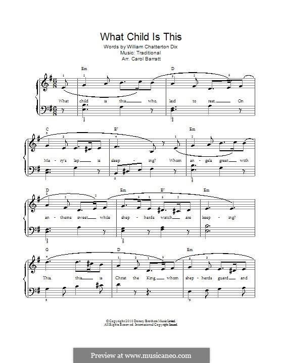 What Child is This (Christmas Carol): For voice and piano by folklore
