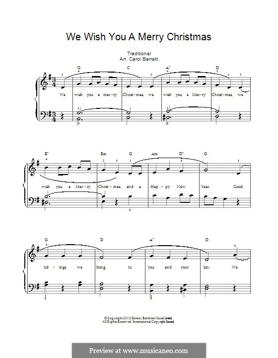 We Wish You a Merry Christmas (Printable Scores): For voice and piano by folklore