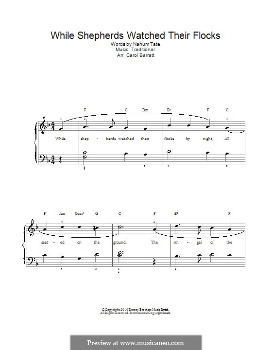 While Shepherds Watched Their Flocks: For voice and piano by folklore