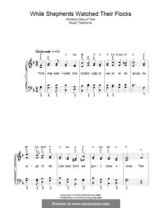 While Shepherds Watched Their Flocks: For easy piano by folklore