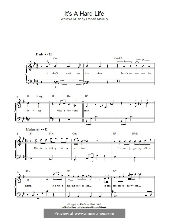 It's a Hard Life (Queen): For easy piano by Freddie Mercury