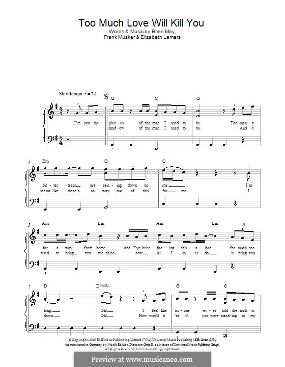 Too Much Love Will Kill You: For easy piano by Brian May, Elizabeth Lamers, Frank Musker