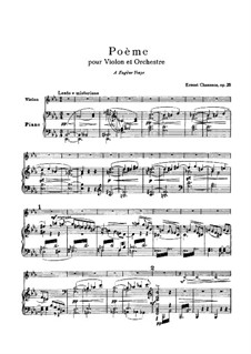 Poem in E Flat Major, Op.25: For violin and piano – score, solo part by Ernest Chausson