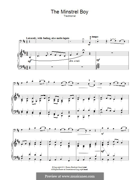 The Minstrel Boy (The Moreen): For cello and piano by folklore