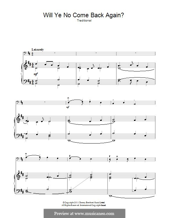 Will Ye No Come Back Again: For cello and piano by folklore
