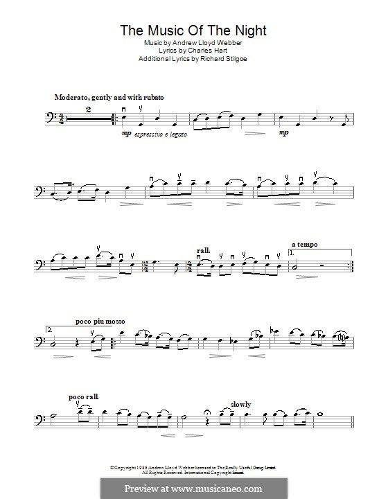 The Music of the Night, instrumental version: For cello by Andrew Lloyd Webber