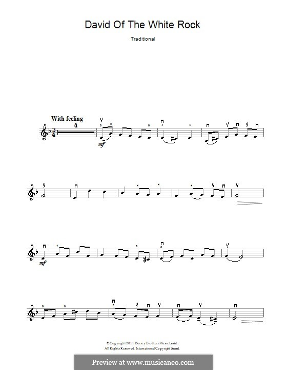 David of the White Rock: For violin by folklore