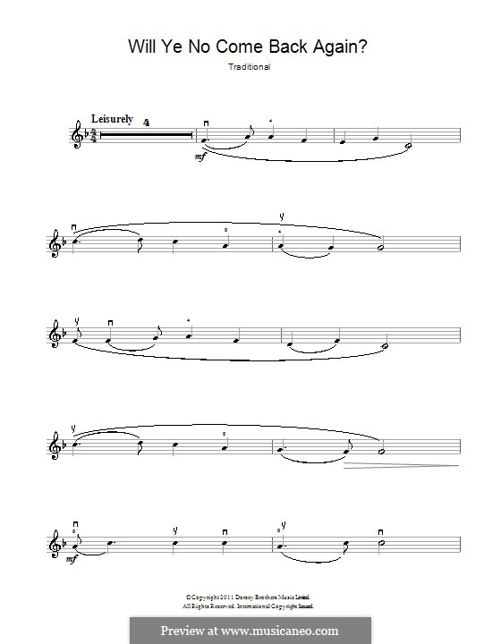 Will Ye No Come Back Again: For violin by folklore