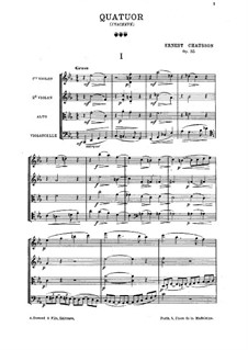 String Quartet in C Minor, Op.35: Full score by Ernest Chausson