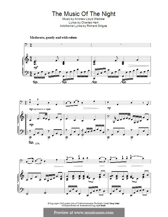 The Music of the Night, instrumental version: For cello and piano by Andrew Lloyd Webber
