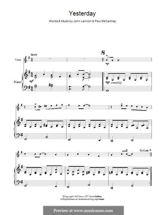 Yesterday (The Beatles): For violin by John Lennon, Paul McCartney