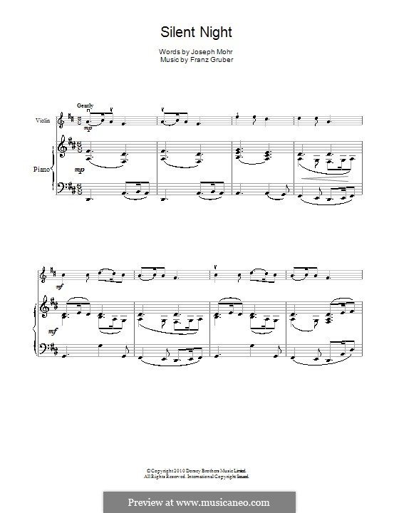 Silent Night (Printable): For violin and piano by Franz Xaver Gruber