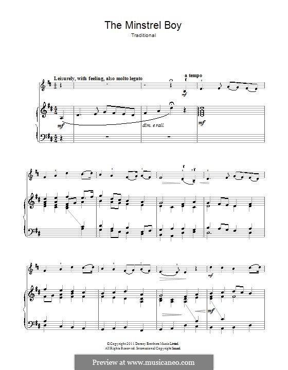 The Minstrel Boy (The Moreen): For violin and piano by folklore