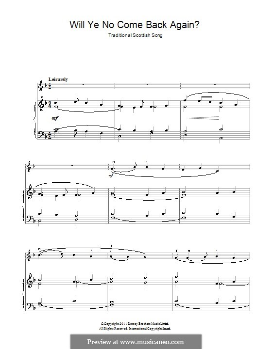 Will Ye No Come Back Again: For violin and piano by folklore