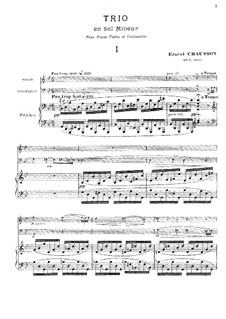 Piano Trio in G Minor, Op.3: Movements I-II by Ernest Chausson