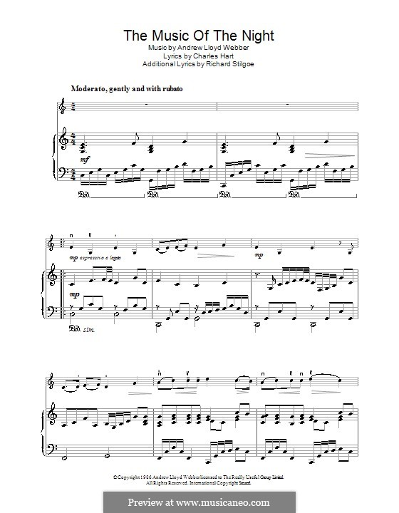 The Music of the Night, instrumental version: For violin and piano by Andrew Lloyd Webber