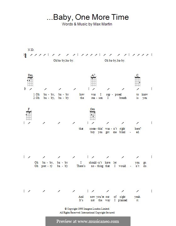 Baby One More Time (Britney Spears): For ukulele with strumming patterns by Max Martin