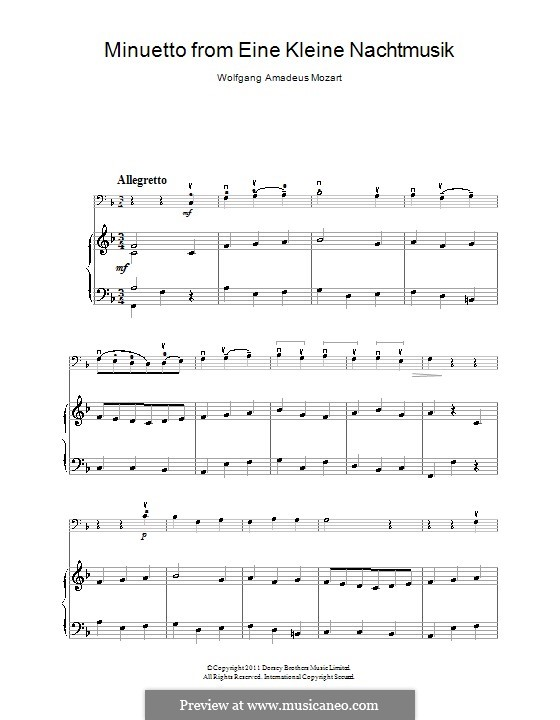 Minuet: For cello and piano by Wolfgang Amadeus Mozart