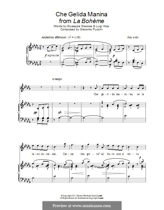 Che gelida manina: For voice and piano by Giacomo Puccini