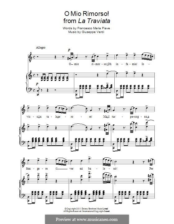 O mio rimorso!: For voice and piano by Giuseppe Verdi
