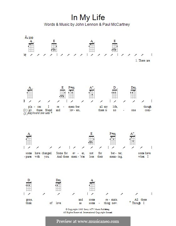 In My Life (The Beatles): For ukulele with strumming patterns by John Lennon, Paul McCartney