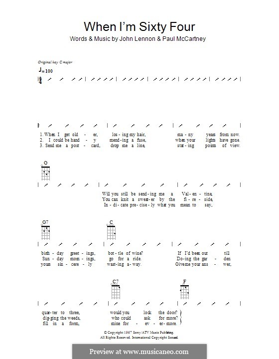 When I'm Sixty-Four (The Beatles), for One Instrument: Ukulele with strumming patterns by John Lennon, Paul McCartney