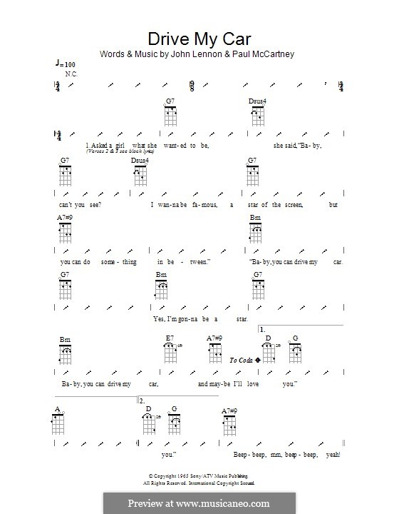 Drive My Car (The Beatles): Ukulele with strumming patterns by John Lennon, Paul McCartney