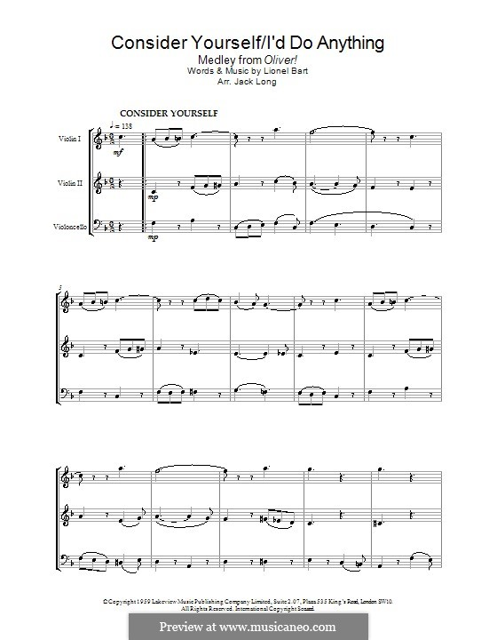 Consider Yourself (from Oliver!): For string ensemble by Lionel Bart