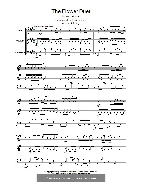 The Flower Duet: For two violins and cello by Léo Delibes