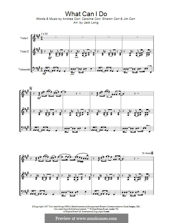 What Can I Do (The Corrs): For string ensemble by Andrea Corr, Caroline Corr, Jim Corr, Sharon Corr