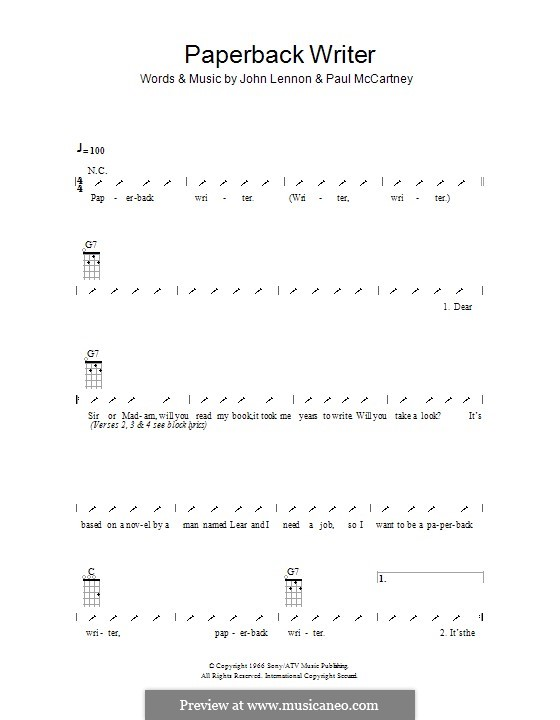 Paperback Writer (The Beatles): Ukulele with strumming patterns by John Lennon, Paul McCartney