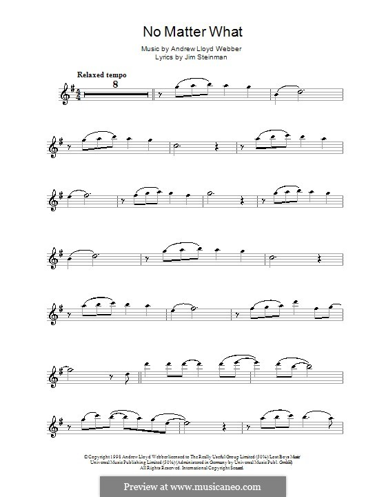 No Matter What (from Whistle Down the Wind): For flute by Andrew Lloyd Webber