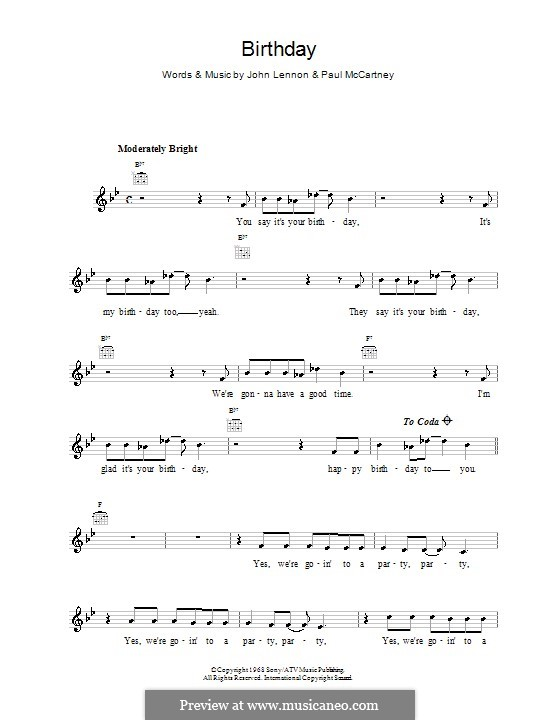 Birthday (The Beatles): Melody line, lyrics and chords by John Lennon, Paul McCartney