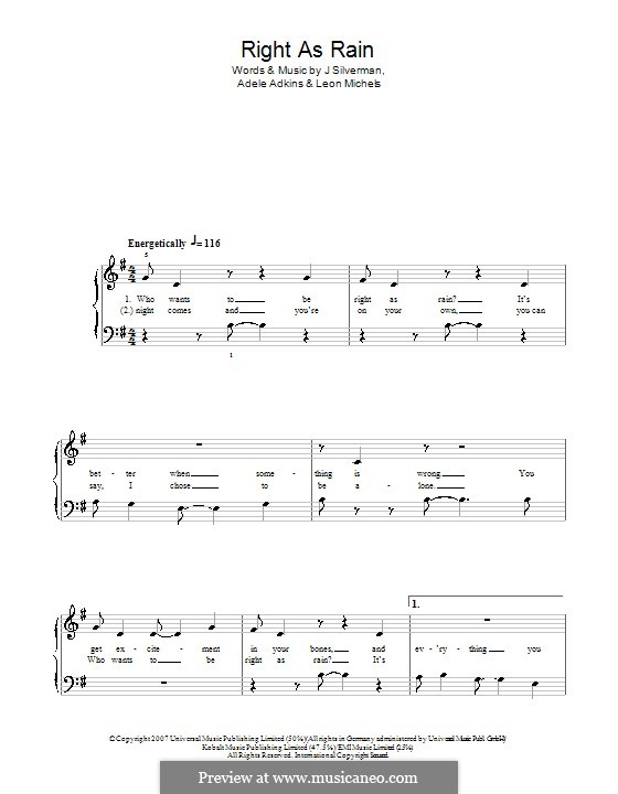 Right as Rain: For easy piano by Adele, Jeffrey Silverman, Leon Michels