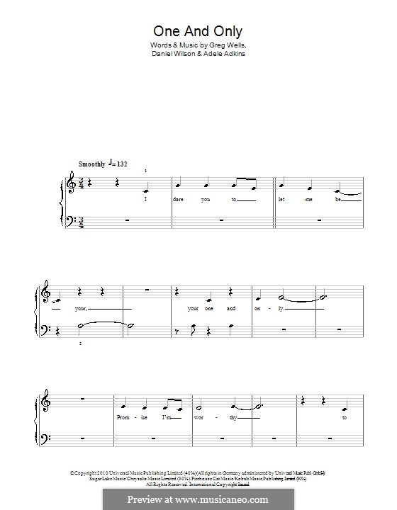 One and Only: For easy piano by Adele, Daniel Wilson, Greg Wells