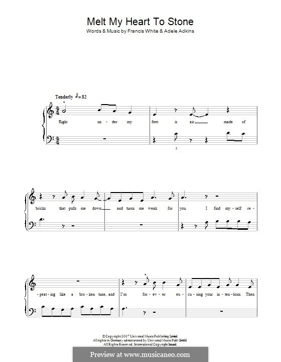 Melt My Heart To Stone By Adele Eg White Sheet Music On Musicaneo