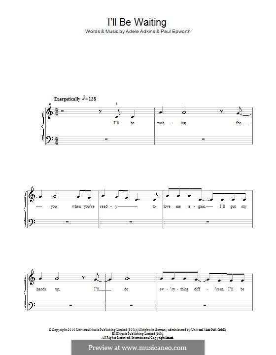 I'll be Waiting: For easy piano by Adele, Paul Epworth